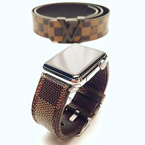 394879d877b Image Unavailable. Image not available for. Color  Handmade Premium Calf  Leather Watch Band Gunny Straps - Louis Vuitton Ebene for Apple ...