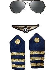 Pilot Piloto Avión Set 4Piezas Gafas hombro aletas y Patch