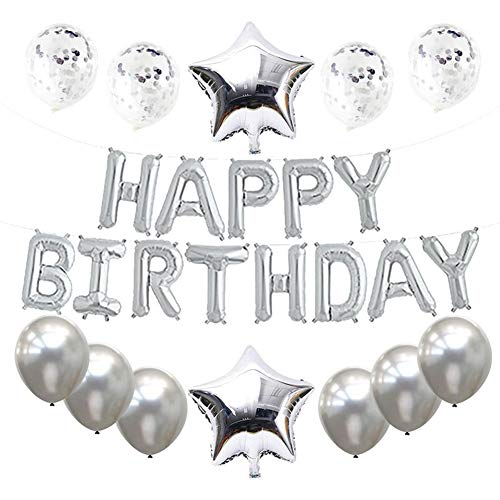 (Haimimall Happy Birthday Balloons Set Silver -13pcs Letters Balloons 2pcs Giant Star Foil Balloons 4pcs Confetti Balloons 9pcs Latex Balloons Birthday Party Decorations and Supplies Ballons)