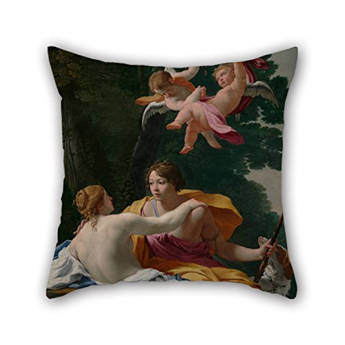 Uloveme Oil Painting Simon Vouet (French - Venus And Adonis Pillowcase ,best For Him,saloon,teens Girls,home Theater,bench,shop 16 X 16 Inches / 40 By 40 Cm(two Sides) (Embroidery Swi)
