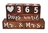 "#6: Wooden Block Wedding Countdown Calendar/Clock – Two Sided, Reversible Sign-""Days until, Mr. and Mrs."" and ""Years since, We said I do"" – Long Lasting Engagement, Bridal Shower, Wedding Gift for Couple"