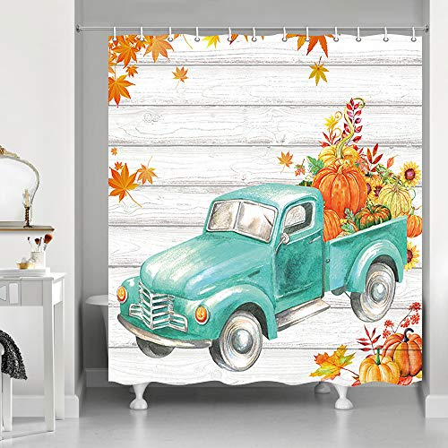 Thanksgiving Autumn Fall Maple Leaf Shower Curtains, Retro Teal Truck Car with Pumpkin Sunflower on Rustic Farm Wooden, Polyester Fabric Vintage Wood Shower Curtain, Bathroom Accessory Sets, 69X70in (Curtains Teal Vintage)