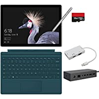 2017 New Surface Pro Bundle ( 6 Items ): Core i7 8GB 256GB Tablet, Surface Dock, Surface Type Cover Teal (2016), Surface Pen Silver, 128GB Micro SD Card, Mini DisplayPort Adaptor