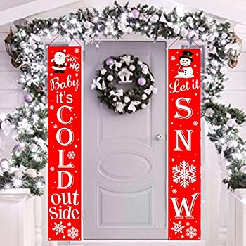 Mosoan Christmas Decorations Outdoor Porch Decorations | Let it Snow & Baby It's Cold Outside Holiday Banners Xmas Porch Signs for Front Door or Home, Apartment, Yard and Wall Decor