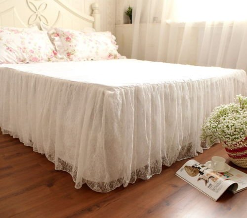 Vintage Bedskirt - Handmade Korea Style Two Layers White Embroider Lace & Cotton Bed Skirt