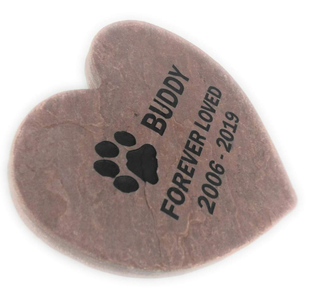 GraphicRocks Personalized Pet Memorial Grave Marker Garden Stone 12 inch Natural Red Stone Heart by GraphicRocks