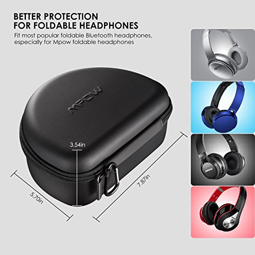 Large Product Image of Mpow Headphone Case for Mpow 059/Mpow H1/H2/H5/Thor and More Foldable Headphones of Other Brands, Storage Bag Travel Carrying Case for Headphones Foldable, Over-Ear/On-Ear