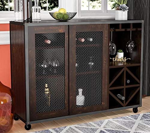 Sideboard Buffet Storage Cabinet- Showcase Your Home Decor While Meeting Your Storage Needs-Color Vintage Walnut Wood Meshed Doors with Wine Rack Casters (36' Wine Rack Furniture)