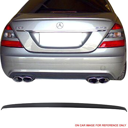 Pre-painted Trunk Spoiler Fits 2007-2013 Mercedes W221 S-Class | Painted Matte Black ABS Trunk Boot Lip Spoiler Wing Deck Lid By IKON MOTORSPORTS | 2008 2009 2010 2011 2012