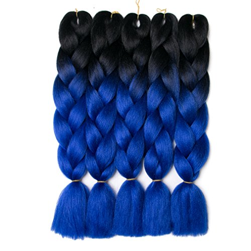 Lady Corner Ombre Braiding Hair 24inch Jumbo Braids High Temperature Fiber Synthetic Hair Extension 5pcs/Lot 100g/pc for Twist Braiding Hair (Black- Diamond Blue)