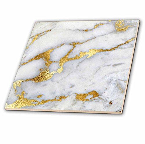 aux Glitter Pattern - Luxury Grey Gold Gem Stone Marble Glitter Metallic Faux Print - 12 Inch Ceramic Tile (ct_268835_4) (Marble Gemstones)