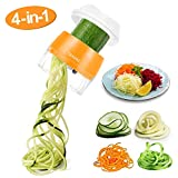 Handheld Vegetable Slicer, Adoric Vegetable Spiralizer Upgraded 4 in 1 Heavy Duty Veggie Spiral Cutter - Zoodle Pasta Spaghetti Maker, Orange