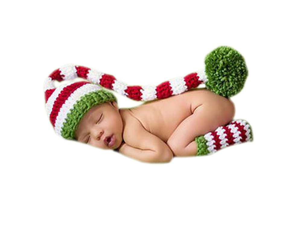DELEY Baby Crochet Knit Christmas Elf Long Tails Pompom Hat Costume Infant Clothes Photo Props 0-6 Months FS0222