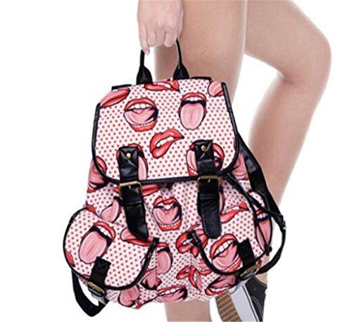 SHFANG Student Travel Double Pocket Retro Doppel Umhängetasche   Gedruckt rote Lippen Mädchen Shopping School 32 * 36 * 15cm