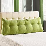WOWMAX PP-Cotton Filled Triangular Wedge Pillow Positioning Support Reading Backrest Cushion Sofa Bed Day Bed Upholstered Headboard Removable Washable Cover Green Twin