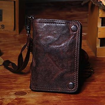 La nueva cartera de cuero artesanal short vintage old head capa monedero de cuero 80% off el paquete de la tarjeta monedero de cuero suave,café profundo: ...