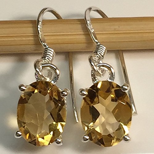 Natural 3.5ct Golden Citrine 925 Solid Sterling Silver Dangle Earrings 22mm long ()