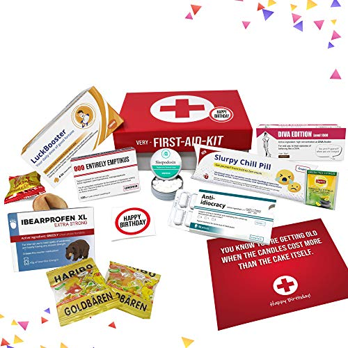 (Birthday present for women and men, humorous medicine inspired 1st aid kit | Very First Aid Box gifts for her and him | 9 pieces)