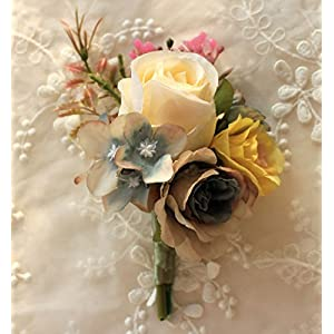 S_SSOY Boutonniere Bridegroom Groom Men's Boutonniere Groomsmen Best Man Boutineer Pin Artificial Flower Corsage for Wedding Homecoming Prom Suit Decor Pack of 4