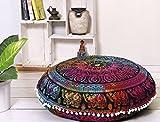 Popular Handicrafts Large Hippie Elephant Mandala Floor Pillow-Cushion-Pouf Cover Round Bohemian Yoga Decor Floor Cushion Case- 32'' Tie Dye