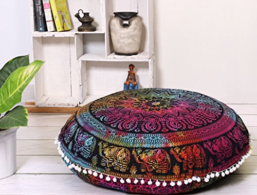 Popular Handicrafts Large Hippie Elephant Mandala Floor Pillow-Cushion-Pouf Cover Round Bohemian Yoga Decor Floor Cushion Case- 32'' Tie Dye by Popular Handicrafts