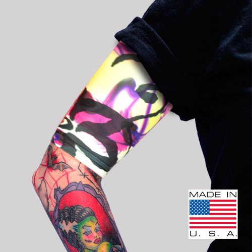 Tat2X Ink Armor Premium Tattoo Cover Up Sleeve - No Slip Gripper - U.S. Made - Half Arm - Island Dark - ML (Single Half arm Sleeve)