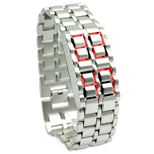 RED LED Digital Date Wrist Watch Lava Faceless Samurai Iron Bracelet Bangle Cuff