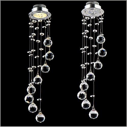 Meerosee Lighting 3W Min LED spotlight K9 Crystal ball Crystal Chandelier Ceiling Light Fixture Ceiling downlight LED Recessed light 110V 220V home house lamp illumination D3.3″x H15.7″