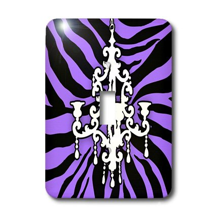 (3dRose lsp_26427_1 Funky purple zebra print with chic white chandelier Toggle Switch,)