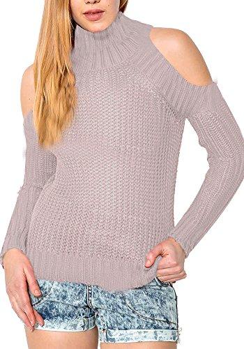 Simplee prendas de vestir las mujeres de cuello alto Cold Shoulder Cable de punto Sweater Pullover Rosa