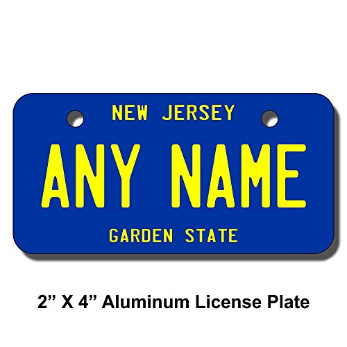 (TEAMLOGO Personalized New Jersey License Plate - Sizes for Kid's Bikes, Cars, Trucks, Cart, Key Rings Version 3 (2 x 4 Aluminum License Plate))