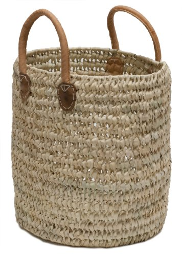 Moroccan Straw Round Tote Bag w Leather Handles – 13 Lx15 H – Malaga