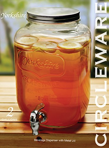 Circleware-Yorkshire-Sun-Tea-Mason-Glass-Drink-Beverage-Dispenser-with-Metal-LID-and-Spigot-2-Gallon-Capacity-Limited-Edition-Glassware