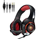 PS4 Gaming Headset, CEStore 3.5mm LED Light Over-Ear Headphones with Microphone/Volume Control for iPhone SE 6 6S Plus, Samsung, PC Laptop Tablet with 2-in-1 Audio and Mic Splitter Adapter-Red