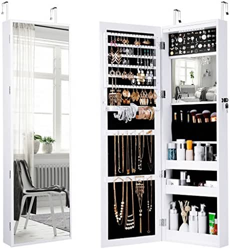 LANGRIA Jewelry Mirror Armoire-10 LEDs Wall Door Mounted Full Screen Mirror Cabinet Organizer with Spacious Storage, Mirror Size 13.5 in W x 46 in H, White