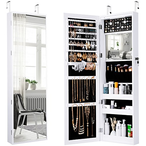 LANGRIA Jewelry Cabinet Organizer with Full Length Mirror, 10 LEDs Lockable Jewelry Armoire with Spacious Storage, Wall Mounted or Door Hanging, White (Furniture Bedroom Somerset)