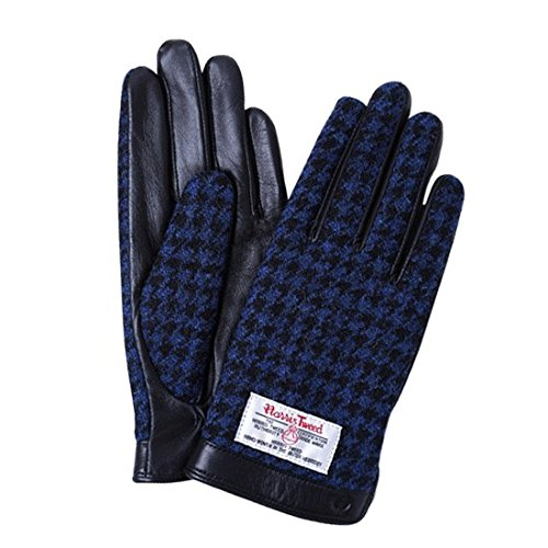 受益者脇にパールiTouch Gloves ハリスツイード スマホ手袋 手袋 メンズ レディース レザー / 千鳥格子 / ブラック / S