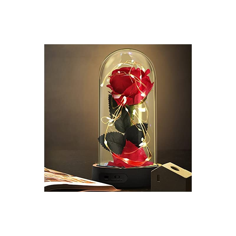 silk flower arrangements beauty and the beast rose,enchanted red silk rose lamp with 2 mode led fairy string lights,best gifts for her for valentines day,mothers day,anniversary,wedding,birthday gifts