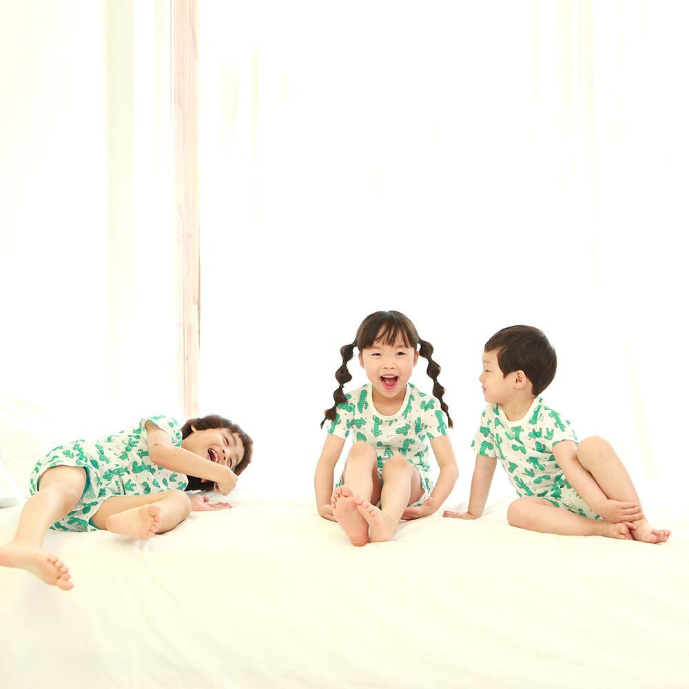 OllCHAENGi Toddler Kids Boys Girls Cotton Pajama Set Short Sleeve 2T-13Y Cactus