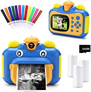 INKPOT Instant Print Camera for Kids,Zero Ink 1080p Video Kids Digital 12MP Selfie Camera for Girls Boys,Birth