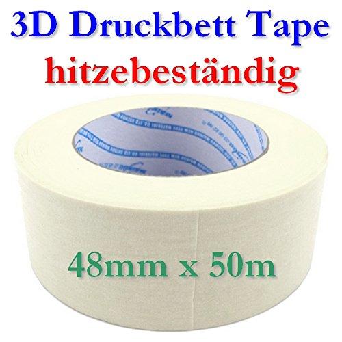 Impression Lit résistant à la chaleur ruban adhésif tape blanc 48mmX50m 3D-Drucker-Filament.de