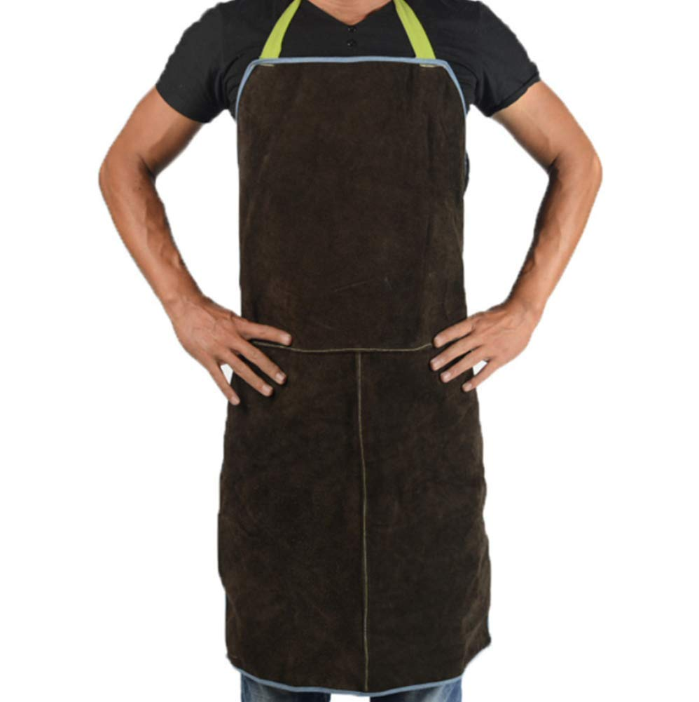 Welding Apron Leather Extra Large for Men and Women Adjustable Work Jacket Lathe Work, Metalwork Apron 60x90cm (Brown)