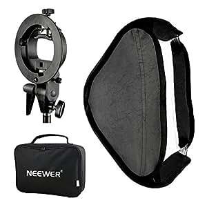 Neewer Estudio de la foto de múltiples funciones con softbox de tipo S yugo de montaje Soporte para montaje y estuche de transporte Set para la fotografía de retrato/producto (60 cm x 60)