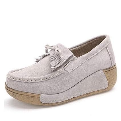 Qiusa Zapatos Mocasines con borlas de Mujer Zapatos Mocasines con Cordones de Plataforma (Color :