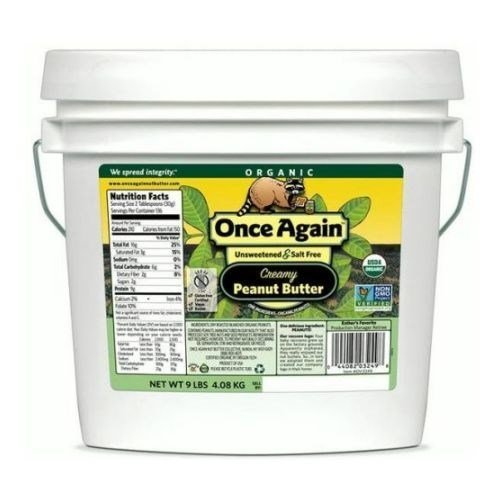 Once Again Nut Butter Organic Creamy Peanut Butter, Unsalted - 9 lbs by Onceagain