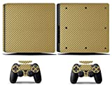 Cosines PS4 Slim Stickers Vinyl Decal Protective Console Skins Cover for Sony Playstation 4 Slim and 2 Controllers Gold Carbon