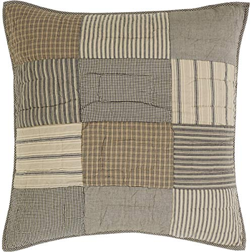 VHC Brands Farmhouse Bedding - Sawyer Mill Grey Quilted Euro Sham, One Size, Charcoal Contemporary Euro Pillow Sham