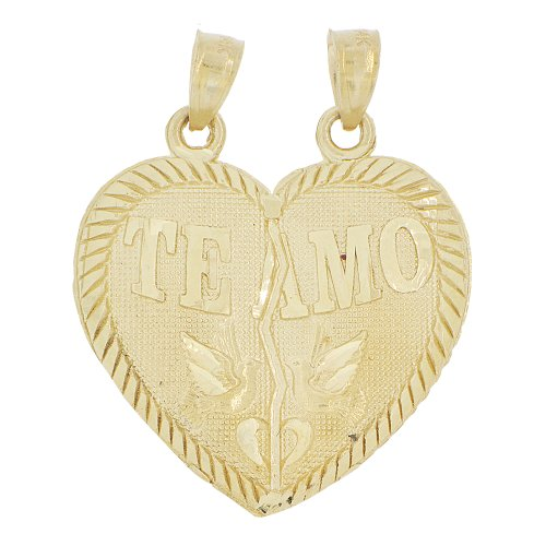 14k Yellow Gold, Couple Sharing Split Heart Pendant Love Charm Te Amo 22mm by GiveMeGold