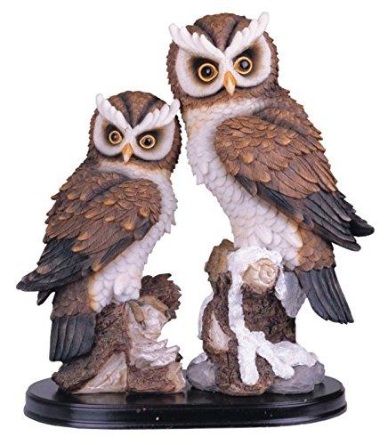 StealStreet Ss-G-54222 Medium Polyresin Big & Small Owls perched On Wood Base, - Polyresin Base