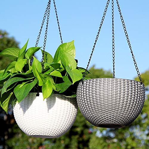 Livzing Hanging Flower Pot Basket With Hook Chain For Home Gardener Grower Planter Office Balcony - 2 Pack - Assorted Color
